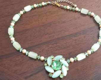 Green Vintage Reconstructed Necklace