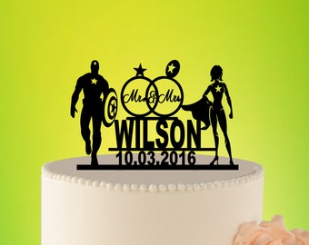 Captain America cake topper, Wedding Cake Topper, Captain America Wedding topper, Superhero Wedding Cake Topper, Superhero Wedding L2-01-016