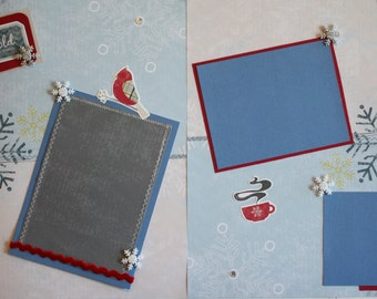Winter, Snow Scrapbook page, double layout, 12 x 12 scrapbook pages, premade scrapbook pages