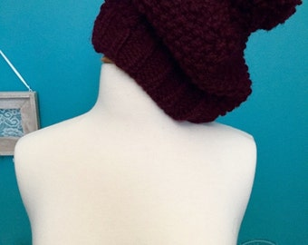 Knitted Hat in Burgundy, Fitted, Pom Pom Beanie, Single Moss