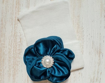 Baby girl newborn hat with Teal satin flower- newborn hospital hat, newborn beanie, baby girl newborn, teal baby hat, baby shower gift
