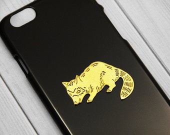 Raccoon iPhone 7 Cover iPhone 7 Plus 24kt Gold Bling iPhone 6 Case, Raccoon iPhone 6s, iPhone 6 Plus Cute, Handmade iPhone 6s Plus Funny