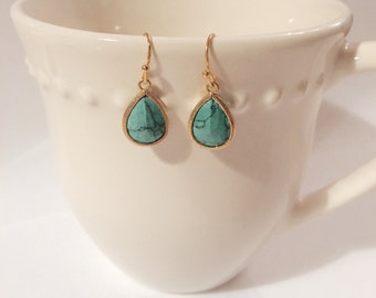 turquoise gold plated drop earrings
