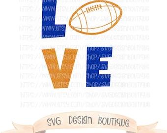 Love Football SVG  - Sports SVG- Football Cut File - Glitter Football Svg - Vinyl cutting file | Silhouette  & Cricut Design - DXF