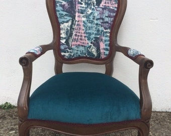 Armchair (lovingly re-covered with luxury teal velvet and 50s abstract architectually designed fabric)