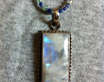 Rainbow Moonstone pendant on beaded necklace