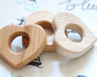 Organic wooden teether / Baby teething rattle / Baby first toy / 1 PC