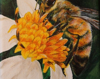 Busy  Bee, Hand Painted, Canvas