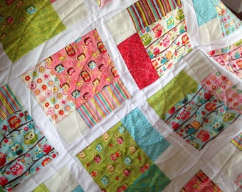 Baby Girl Quilt Owls Quilt 100% Cotton Handmade Quilt Ready to Ship