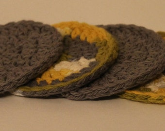 Handmade Crocheted Yellow & Gray Coasters - Set of 4