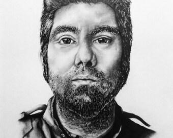 Chino Moreno Portrait (Pen And Pencil) 12x8 inches