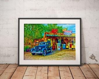 Vintage General Store Car Painting Print