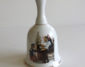 Norman Rockwell Bell For a Good Boy, 1986 Museum Collections, Vintage Bell, Father and Son Bell