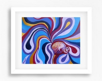 Abstract Fish Painting Print, Colourful Fish Art, Abstract Fish Wall Art, Abstract Painting, Fish Artwork Print, Fish Poster Print