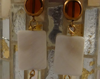 White Shell, Amber Glass and Bronze Pearl Earrings with Gold Wire