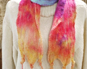 Hand-dyed and hand-felted rainbow scarf, made in Scotland from Bluefaced leicester wool
