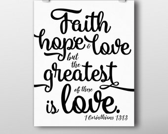 Faith, Hope & Love - Instant Download, Printable Wall Art