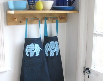 Childs Denim Apron, Hand Appliquéd Floral Elephant. Age 3-4 yrs