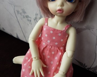 Pink and white Polka dot dress made for Littlefee