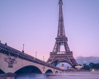 Eiffel Tower sunset over River Seine Paris Landmark colour photo print - FREE SHIPPING - Limited Edition - Cityscape - Fine Art Print