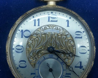 Illinois Pocket Watch Model 13 Yellow 10k Gold Filled Open Face Wadsworth Watch Case
