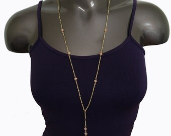 summer jewelry extra long brass necklace single strand with rose stone pendant