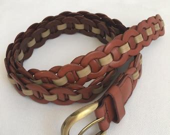 "Braided skinny leather belt- 41"""