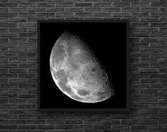 Moon Photography - Moon Print - Black and White Wall Decor - Astronomy Print - Sky Photo - Moon Wall Decor - Sky Wall Decor - Square Photo
