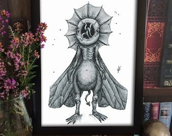 Monster Illustrative Print - monster drawing - black and white print - surreal illustration - unique print - decorative print