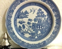 SPODE China Plate 'Willow' Blue Room Collection Georgian Staffordshire