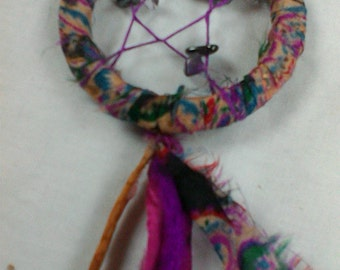 Star dreamcatcher with amethyst and hematite