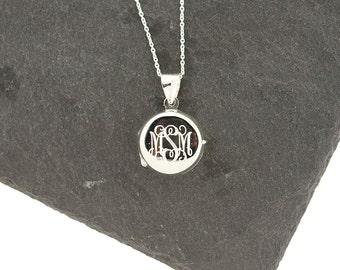 Sterling Silver Monogram Round Locket, Open Locket, Bridesmaids Jewelry