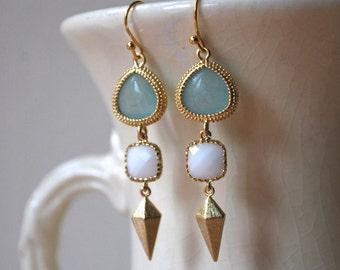 Amazonite Blue, White and Diamond Stud Dangle Earrings.