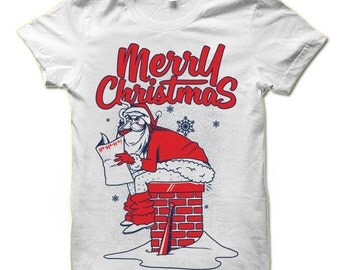 Funny Christmas T Shirt | Naughty Santa Shirt | Funny Christmas Gift | Christmas Shirts Men | Funny Gift For Him | Bad Santa TShirt Women