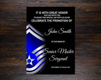 military promotion invitation, military promotion, air force promotion, military promotion party, military add on stripes, military up rank