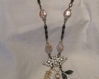 Vintage rhinestone and pearl necklace, leaf charms