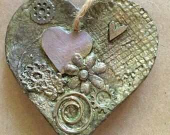 ModernHeart Ornament. Artist-made, assemblage, unique holiday gift (HC01)