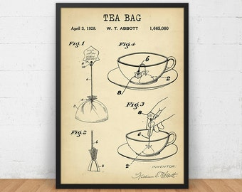 Tea Bag Patent Print, 4 COLORS Printable, Kitchen Wall Art, Tea Lover Gallery Wall, Tea Poster, Vintage Tea Bag, Kitchen Decor Tea Print