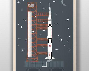 Minimalist Saturn V Poster Digital Downloads