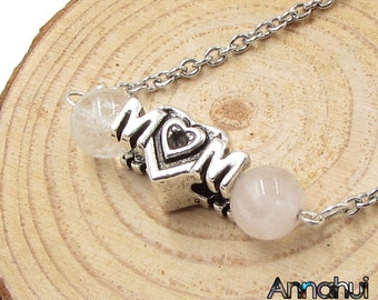 Rose Quartz Bar Necklace, Mothers day Gift, Birthday Gift for Mom, Gift for Mom, Natural Gemstone necklace Mom Necklace Mothers Day Necklace