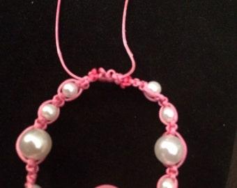 Pink Pearl Macrame Bracelet