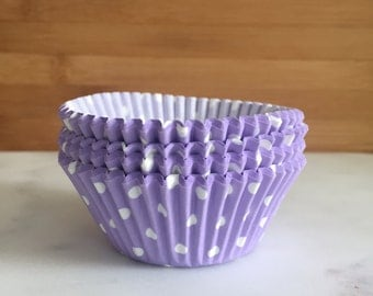 Lavender & White Polka Dot Cupcake Liners, Standard Sized, Baking Cups (50)