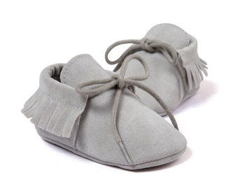 Light grey, soft sole, baby mocassins