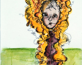 Original drawing of a raiponce blond and terribly long hair, illustration in watercolor and ink, green background