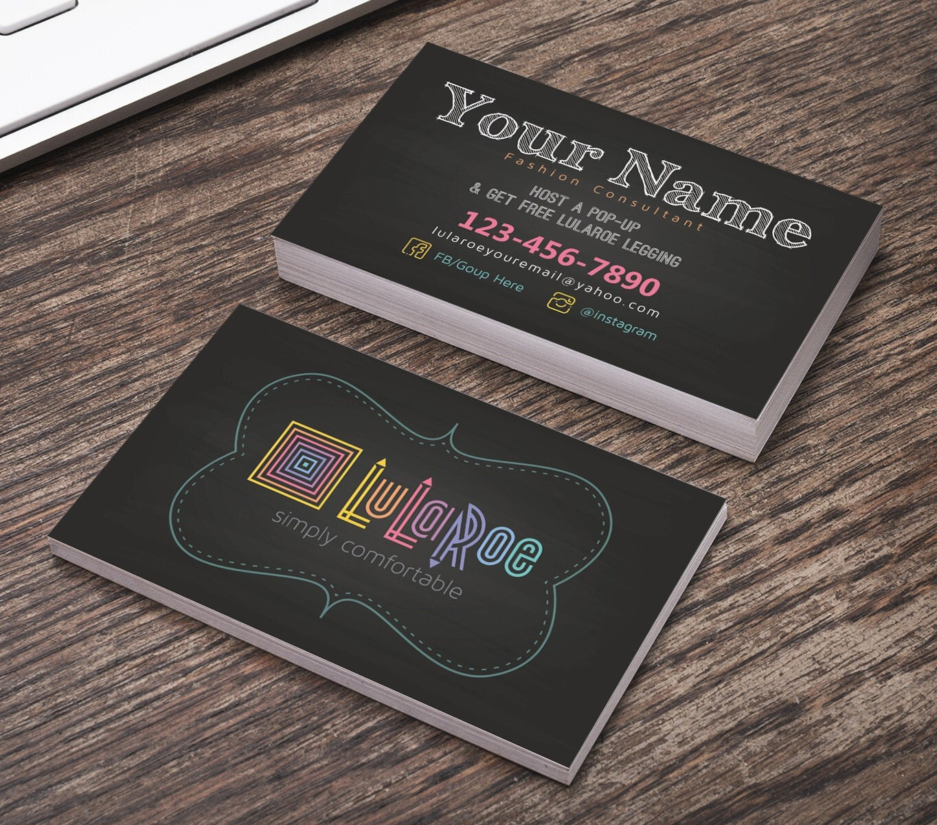 Chalk board style lularoe business cards digital by for Lularoe buisness cards