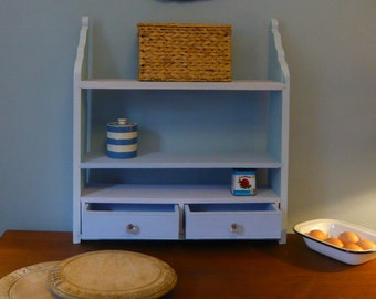 Old Vintage Soft Blues Wall Shelf Unit with Two Draws