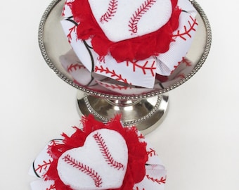 Set of 2 Baseball Heart Pinwheel Bows, Hair Accessories for Girls, I Love Baseball, Baseball Fan