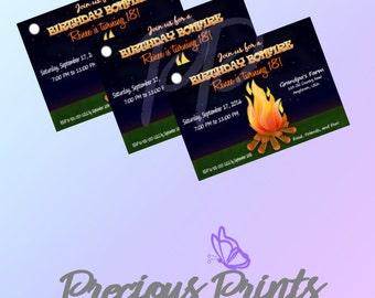 Printable Bonfire Birthday Invitation