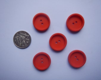 25 x Red 22 mm Resin Buttons