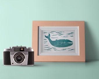 Whale wall art, linocut print, whale art, whales print art, nursery whale print, linocut printmakers, whale poster, modern coastal decor